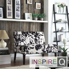 Get in my living room, now.  Easton Black Cow Hide Fabric 2-seater Accent Loveseat