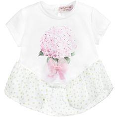 Baby Girls White Cotton & Silk Polka Dot Top, Monnalisa, Girl