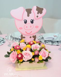 Image may contain: flower Farm Animal Birthday, Baby Girl First Birthday, Farm Birthday, Birthday Goals, Barnyard Party, Pig Party, Farm Party, Pig Baby Shower, Party Mottos