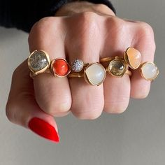 These beauties are all off. Lotus rings in with rutilated quartz, coral & moonstone by Ole Lynggaard Copenhagen… Lotus Ring, Rutilated Quartz, Hair And Nails, Gemstone Rings, Glitter, Jewels, Boho, Gemstones, Pearl Jewelry