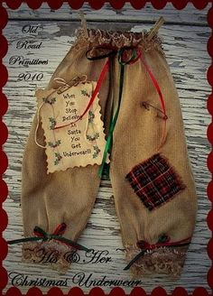 Primitive Crafts with Old Stuff | Stuff them with candy, gift cards, money, or an fun small Christmas ...