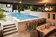 Make a Splash: 50 Spectacular Pool Waterfalls and Water Features - Piscina Small Backyard Pools, Backyard Pool Landscaping, Backyard Pool Designs, Small Pools, Swimming Pools Backyard, Swimming Pool Designs, Backyard Ideas, Backyard Waterfalls, Swimming Pool Water