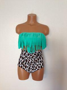 Seashore fringe retro bikini by LoveLucyBea on Etsy, $102.00