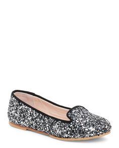 Bloch (Toddler Girls) Black & Silver Shira Glitter Smoking Flats