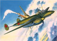 Petlyakov shoots down a Heinkel He 111 (S. Airplane Drawing, Airplane Art, Ww2 Aircraft, Military Aircraft, Aircraft Painting, Ww2 Planes, Dog Fighting, Historical Art, Nose Art