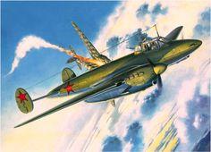 Petlyakov Pe-3 shoots down a Heinkel He 111 (S. Tarasovic, Zlinek box art)