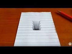 How to draw art. How to drawing hole. Today's video is awesome drawing. Easy and cute trick art on paper. Optical illusion step by step for kids. Drawings On Lined Paper, Paper Drawing, 3d Drawings, Paper Art, Drawing Step, Illusion Kunst, Illusion Art, Drawing Heart, 3d Drawing Techniques