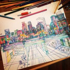 art, beautiful, city, colored pencils, colors, creative, drawing, madelinebestesart, dinkytown