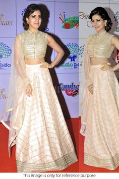 Bollywood Actress Samantha Net and Silk Georgette lehenga in cream and gold color