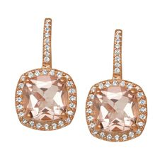 Gioelli Rose Goldplated Silver Simulated Morganite and Created Sapphire Earrings