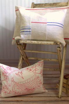 Vintage Grain Sack Decorative Pillow Cover by SuttonPlaceDesigns
