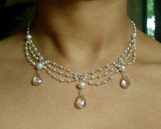 Silver Gray Topaz and Pearl Drape Renaissance Bridal Necklace. $85.00, via Etsy.