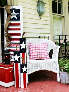 We're no strangers to re-purposing old shutters, and this red, white, and blue idea is pretty enough to display all year long.