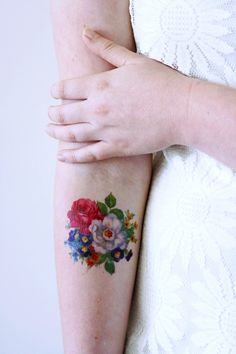 Pretty floral temporary tattoo - a temporary tattoo by Tattoorary