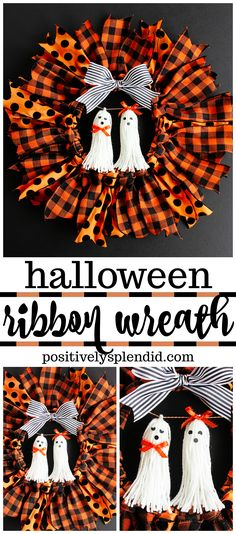 Halloween Ribbon Wreath – Lindsey Fincher Halloween Ribbon Wreath Halloween Ribbon Wreath — So easy to make with an embroidery hoop, and these ghost tassel embellishments are adorable! Theme Halloween, Diy Halloween Decorations, Halloween Cupcakes, Halloween Snacks, Vintage Halloween, Halloween Ideas, Halloween Band, Halloween Crafts To Sell, Modern Halloween