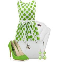"""Green polka"" by lindsee00 on Polyvore"