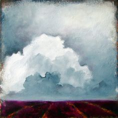 Original oil painting thunderstorm clouds lavender fields