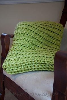 Crochet Throw Blanket Lime Green Afghan Sofa by SlumberSpun