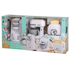 PlayGo - Gourmet Kitchen Appliance Set (White) Realistic Sounds and Lights, Includes Coffee Maker, Mixer and Blender Pretend Kitchen, Kids Play Kitchen, Kitchen Sets, Little Girl Toys, Toys For Girls, White Kitchen Appliances, Wooden Play Kitchen, Play Food Set, Pretend Play