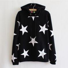 *free ship* woomen star printed hoodie sweatshirt sweater kfashion japanese kawaii harajuku loose fit