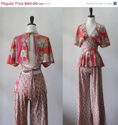 1970s Floral Hippie Outfit $72 by SassySisterVintage