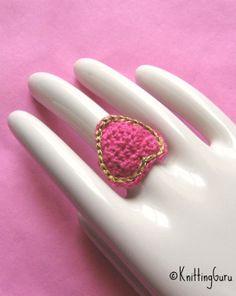 Thread crochet heart ring.