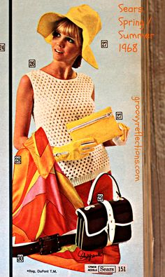 Mod, sunny colors in this ensemble! Floppy hat, knit tank, and colorful scarf are the highlights! Sears Spring/Summer 1968 #sears #fashion #vintage #groovy