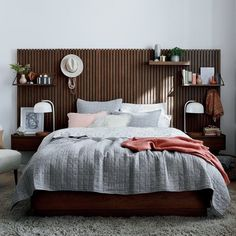 Floating Headboard, Floating Shelves Bedroom, Floating Nightstand, Wall Mounted Headboards, Wall Mounted Desk, Shelf Headboard, Bed Wall, Bedroom Wall, Master Bedroom