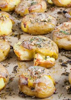 Rosemary-Garlic Smashed Potatoes.Try it with red, yellow & sweet potatoes on the grill.