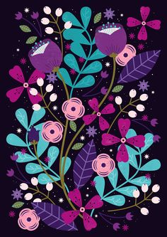 Carly Watts Illustration: Starlight Blooms #floral #folk #decorative #pattern #colourful #design