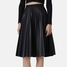 992ce13d7c Top Shop Pleat Midi Skirt pair a crop top or blouse tucked in and your  Belmont Leather Clutch.