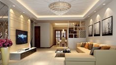 Dashing Round Chandelier On White Ceiling Feats Hidden Lamp Mixed With Cream Sofa Bed On White Floor Idea
