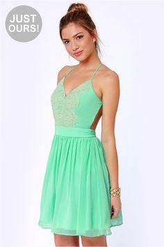 Pretty Mint Green Dress - Lace Dress - Backless Dress - $49.00