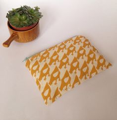 Screen printed 'Little Chicken' pouch in mustard yellow 🍊