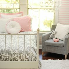 LOVE  grey + pink! that bed frame and chambray chair are awesome too!