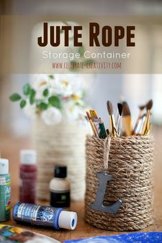 Use hot glue and jute to turn empty food canisters into attractive storage containers for pens, pencils brushes and more. Bol D Air, Food Canisters, Oui Oui, General Crafts, Project Yourself, Storage Containers, Craft Projects, Craft Ideas, Coffee Cans