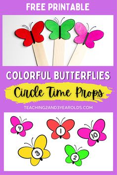Add these butterfly circle time activity props to your classroom this spring. A fun way to work on color exploration, number recognition, and counting skills! #butterflies #circletime #props #printable #music #teachers #classroom #toddler #preschool #2yearolds #3yearolds #teaching2and3yearolds Bug Activities, Circle Time Activities, Spring Activities, Bug Crafts, Craft Stick Crafts, Toddler Preschool, Preschool Ideas, Toddler Circle Time, Butterfly Songs