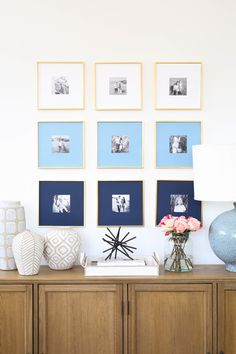 """Shop Gallery Frame, Polished Brass, Set of 4, 12.5""""""""x12.5"""""""", Taupe and White Vase - Vases - Accessories, Gold Tipped Spike Sculpture - Objects - Accessories, Recycled Glass Jars - Vases - Accessories, Gaios Table Lamp - Table Lamps - Lighting and more"""
