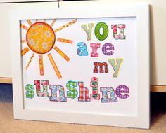 You are my sunshine 8 x 10 print- nursery print- rainbow nursery- Playroom art- toddler room.. $9.00, via Etsy.