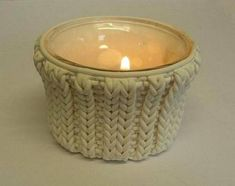 polymer clay covered candle holder that looks like it is knitted!