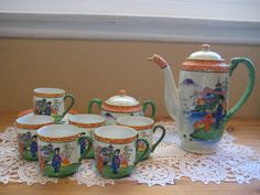 Beautiful Old Vintage RARE Hand Painted Japanese Tea Pot Set 6 Cups Saucer | eBay