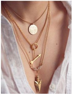 Multilayer Crystal Gold Pendant Chain Statement Necklace - Womens Fashion - A Thrifty Mom