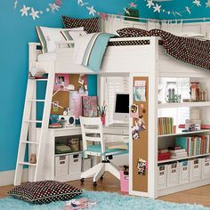 Ava's bed is on a loft setting, giving her room for her computer and desk below.