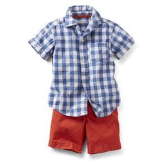 "Carter's - relaxed checked shirt and flat front shorts (FYI- these shorts are ""Beach red"" or true red... which has more ""pink"" in it.)"