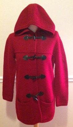 Wool sweater coat red leather toggle buttons hood pockets holiday costume play #LordTaylor #Sweatercoat