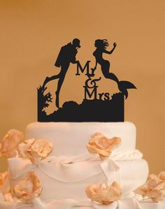 Scuba Diver and Mermaid wedding cake by CakeTopperConnection