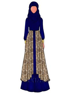 Buy Deep Blue Opal Georgette Abaya online, SKU Code: This Blue color abaya for Women comes with Embroidered Net . Fashion Drawings, Fashion Design Sketches, Sketch Design, Diy Fashion Dresses, Dress Illustration, Abaya Designs, Islamic Clothing, Abayas, Blue Opal