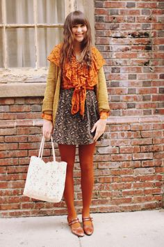 cardigan j. crew blouse vintage, flea market skirt vintage, thrifted bag cut lace carryall from anthropologie shoes vi. Orange Tights, Girl Fashion, Fashion Outfits, Granny Chic, Future Fashion, Colourful Outfits, Mode Inspiration, Printed Skirts, Rock