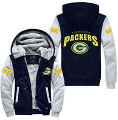Green Bay Packers Football Team Zipper Jacket Sweatshirts Thicken Hoodie