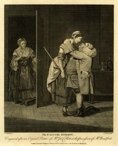1774. The housemaid's cap ties under her chin (practical) though unfashionable, deep cuffs on her gown.